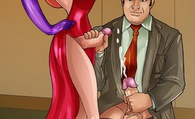 Stacked t-girl Jessica Rabbit in action