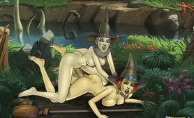 Two famous futanari babes pleasuring their fuckmates