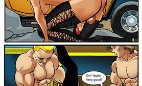 Two ripped jocks sharing a luscious tranny