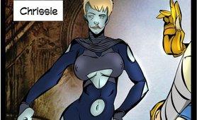 Shemale villain drills superhero chick