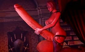 Ivy's long futa cock sounded with dildo