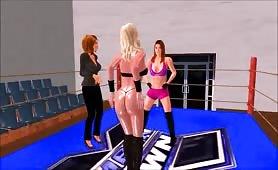Dickgirl gets BJ in wrestling ring