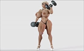 Busty big dick muscle futanari pumping iron