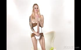 Skinny long cock futanaria self fucking pussy